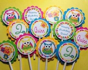NEW Adorable Luau Owl Cupcake Toppers