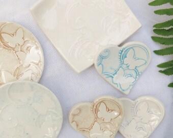 Porcelain Butterfly Plate / Ceramic Soap Dish / Heart Tea Bag Holder / Bridal Shower Gift / Butterfly Theme / Butterfly Wedding Favor