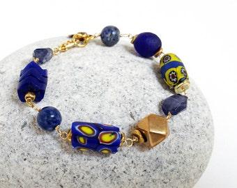 African Trade Bead Bracelet - Authentic African trade bead, millefiori beads, blue glass beads, blue bead bracelet