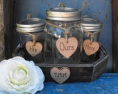 Mason Jar Sand Ceremony Set Personalized With The Brides & Grooms Initials  Wedding Date Country Barnyard Rustic Farmhouse Wedding