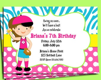 Softball Invitation Printable or Printed with FREE SHIPPING - You Pick Hair Color/Skin Tone - Have a Ball Collection