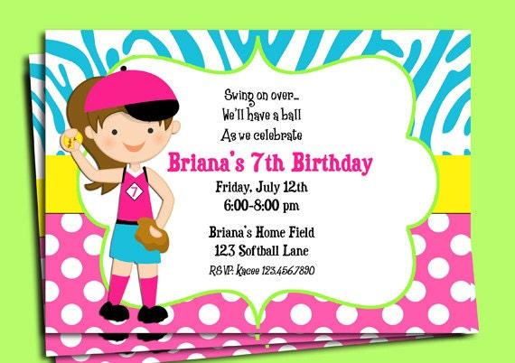 Similiar Girls Softball Party Invitation Keywords – Softball Birthday Invitations