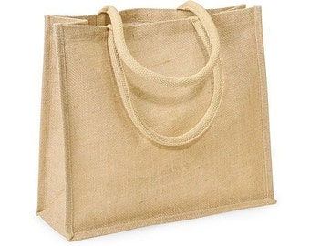 Eco Friendly Natural Burlap Jute Tote Bag w/Cotton Handles 16x6x14""