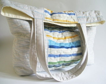 Striped Tote Bag, Summer Tote, Ivory and Blue Tote, Beach Bag, Quilted Market Bag, Weekend Tote