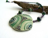 WINTER SALE Green and Purple Ceramic Beaded Necklace,OOAK
