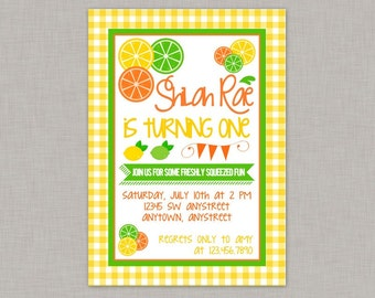 Lemonade Invitation, Citrus Invitation, Lemonade Birthday Party