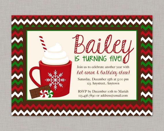 Hot Cocoa Invitation Christmas Birthday Party Invitation