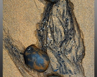 """Pebbles and sand, photo note card, 4.25""""x5.5"""", blank."""