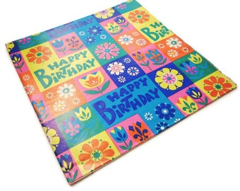 Vintage Wrapping Paper - Groovy Flower Power Happy Birthday Gift Wrap - One Full Sheet
