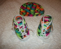 Baby Tennis Shoes with Matching Beanie Set