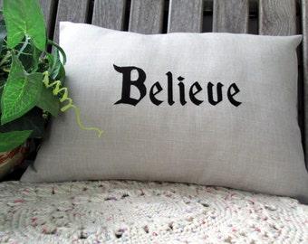 Believe Linen Lumbar Pillow Embroidered Disney Pillow 12x16 Pillow Cover Disney Keepsake Throw Pillow