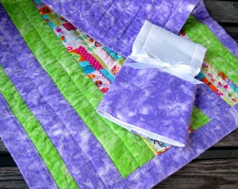 ON SALE - CLOSEOUT 2 Pc Set Purple and Green Stripe Quilt Quilted Baby Blanket and Burp Cloth Set