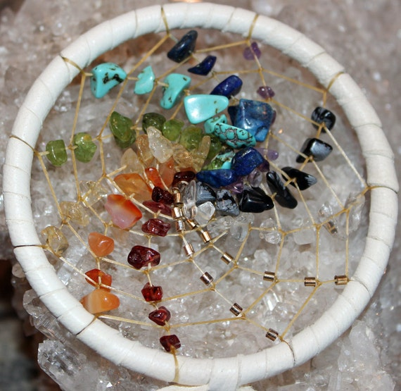 3 inch Spiral Rainbow Chakra Dreamcatcher