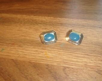 vintage clip on earrings goldtone blue