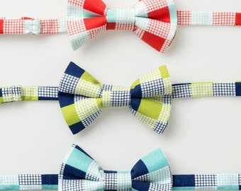 Little Boy Bow Ties - Red/Aqua, Lime/Navy, or Navy/Aqua Check - Baby Bowties