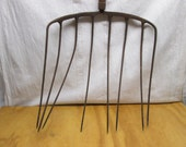 Large Vintage Pitchfork, chaffing fork hay fork  farm tools supplies wall hanging