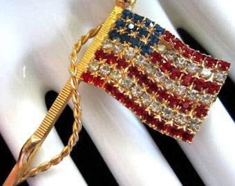 American Flag Patriotic Brooch Vintage Crystal Mint Condition