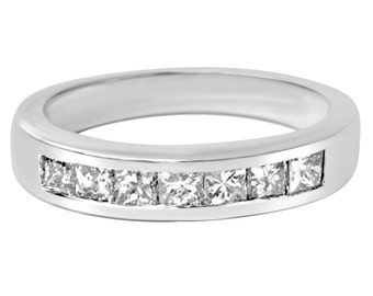 1.00Ct Princess Cut Diamond Channel Set Womens Wedding Anniversary Band Ring 14K White Gold Size 4-9
