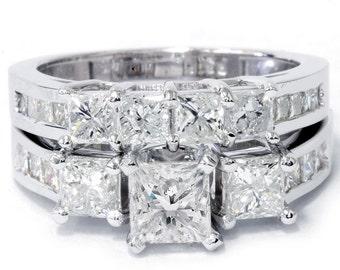 3.50CT Princess Cut Diamond Engagement Wedding Ring Set Channel 14K White Gold Size 4-9