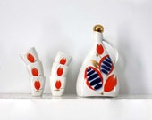 Vintage Russian Porcelain Decanter and 5 Five Glasses. Scandinavian Folk Themed Soviet Vintage 1970s.