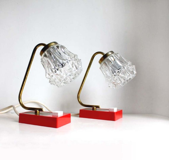 1960s Pair of Accent Table Lamps. Crimson Red, Clear Glass and Aged Brass