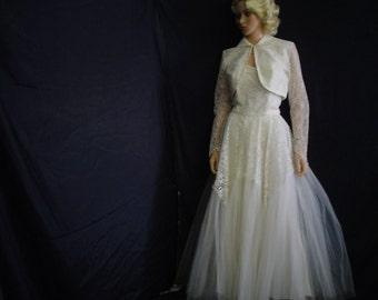 50s Lg Strapless Wedding Bridal Gown Dress Shrug White Lace & Tulle