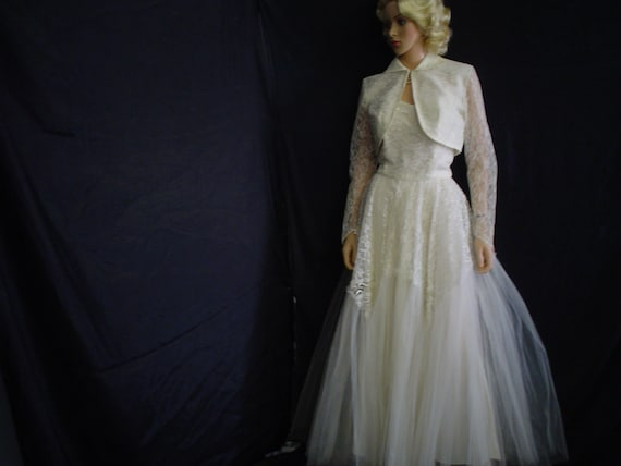 50s Lg Strapless Wedding Bridal Gown Dress Shrug White Lace & Tulle