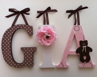 Alphabet wooden letters for nursery in pink, white and brown teddy bear themed  letters stand up initial monogram