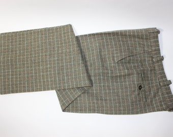 """vintage 40's - 50's style Men's Tweed pants. Flat front - High loop - wide leg. Heathered Olive with tattersall grid. 35"""" waist"""