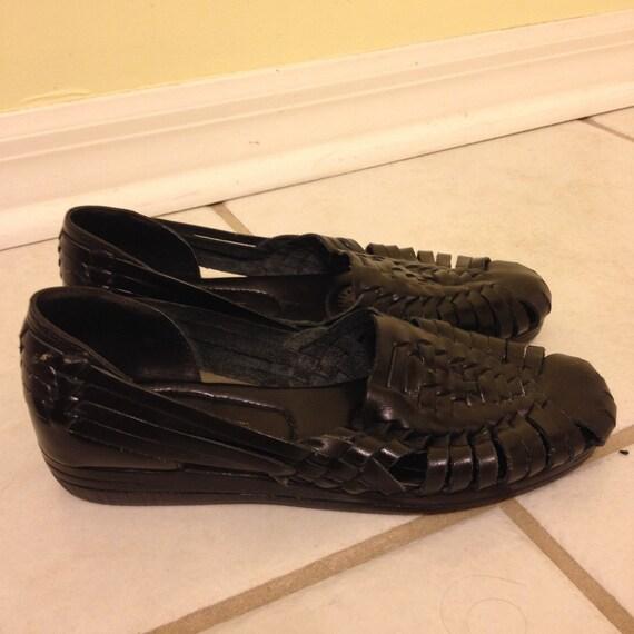 Black Women's Size 6.5  Leather Huarache Sandals
