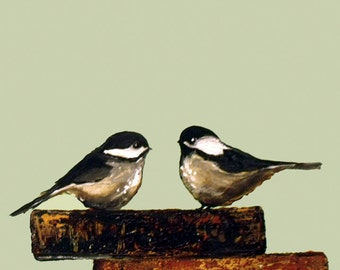 Pair Chickadees on soft sage green , Antique books and birds art print by Laura Sue