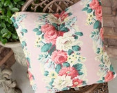 Vintage 1940s Custom Pink & Cream English Cabbage Roses Floral Barkcloth Decorative Throw Pillow