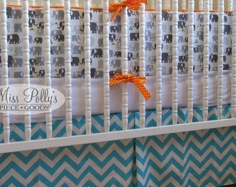 Custom Baby Crib Bedding- Design Your Own- 2-piece Crib Set- Bumper and Skirt