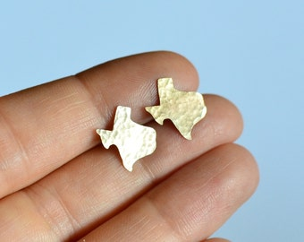 Tiny Texas Earrings. Small Silver Texas State Outline Jewelry. Gold State of Texas Shaped Studs. Personalized Wedding Gifts. Gifts For Her.