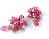 Drop Swarovski Crystal and Glass Pearl Cluster. Dark Pink. 4UbyK8