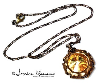 Golden shadow Swarovski crystal filigree wrapped vintage style pendant  - Nickel free USA made metals - solid brass necklace with crystal