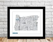 Oregon Typography Map 8x10 Print