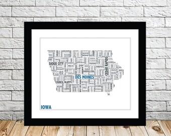 Iowa Typography Map 8x10 Print