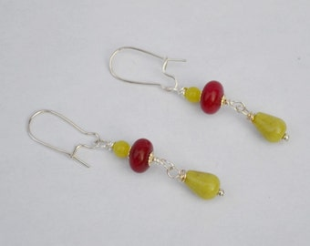 Cherry Jade, Olive Serpentine and Silver Earrings,  green and red stone earring