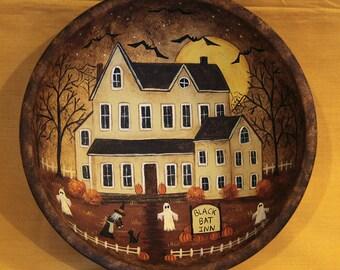 Halloween Folk Art Primitive Wood Bowl, Black Bat Inn, Spooky Mansion, Witch, Bats, Ghosts, Black Cat, Pumpkins, Full Moon, MADE TO ORDER