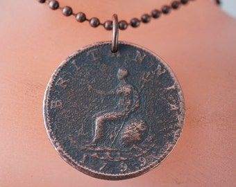 antique coin.  ENGLAND necklace.  1700s George the third pendant . vintage   No.00612