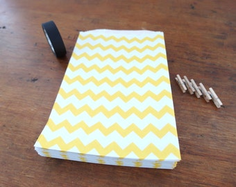 "Gift Bags - Favor Bags - Packaging Bags - Chevron Bag - Yellow, 5"" x 7.5"", Set of 50"