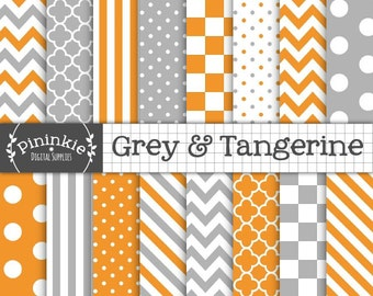 Orange And Grey Digital Paper Pack, Orange Digital Scrapbook Paper, Printable Paper, Tangerine Digital Paper, Instant Download, Orange Paper