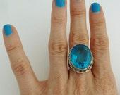 SALE Vintage HUGE Blue Faceted Stone Ring Large Size Signed 925
