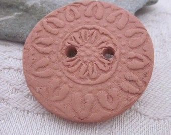 Large Flower Pattern Terracotta Button