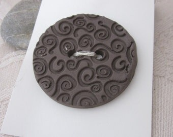 Large Spiral Texture Black Ceramic Button