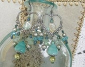 Turquoise chandelier earrings, Bohemian gypsy long Antique silver heart chandelier earrings with citrine and turquoise