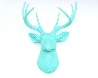 Faux Taxidermy - Aqua Faux Deer Head - Fake Taxidermy Wall Mount D6363