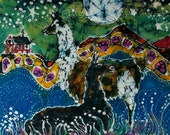 "Hills Alive with Llamas - fabric swatch from original batik -  quilting 12"" x 16"""