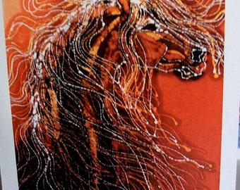 Horse Batik card  - Autumn Sundance   -  one set 4 cards